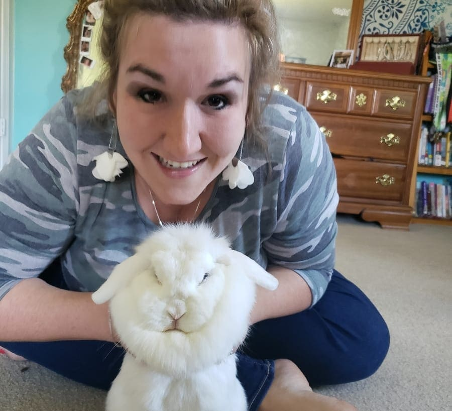 Laura with another one of her beloved pet rabbits.